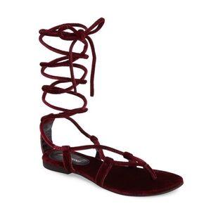 Jeffrey Campbell Burgundy Velvet Gladiator Sandal